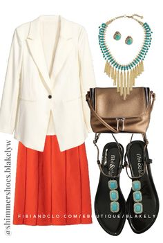 Turquoise and bright red orange. Classic combo, especially with the cream blazer. fibi & clo sandals perfect for work or play. Shop here >>> fibiandclo.com/eBoutique/blakely  #fibiandclo #springoutfit #ootd