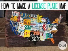 DIY Map Art  : DIY License Plate Map DIY home decor wall art @Rachael Geesaman