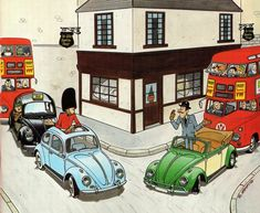 Car Illustration, Illustrations, Citroen Ds, Peugeot 203, Combi Vw, Vw Volkswagen, Car Drawings, Small Cars, Vw Beetles