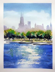Watercolor demo of Chicago skyline - Tony Armendariz