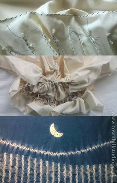 "Waning moon landscape created with shibori stitch. Top image shows the oversew stitch and ori nui ""grass stems"", the centre all the stitching pulled up with the finished fabric image at the bottom. Designed and made by Annabel Wilson of Townhill Studio."