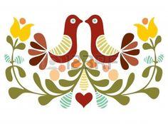 Popular Folk Embroidery Vector folk art design Art Print by Pizza Party - Embroidery Designs, Folk Embroidery, Learn Embroidery, Mexican Embroidery, Bordado Popular, Scandinavian Folk Art, Bird Patterns, Antique Quilts, Tole Painting