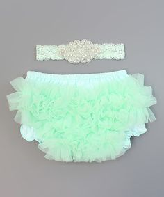 Mint Ruffle Diaper Cover & Lace Headband