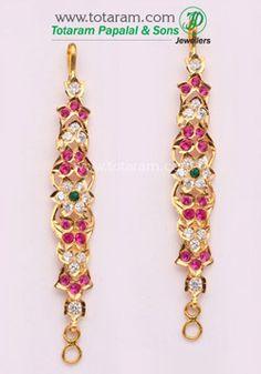 Totaram Jewelers: Buy 22 karat Gold jewelry & Diamond jewellery from India: Ear Chain / Martiz Pearl Necklace Designs, Gold Earrings Designs, Gold Jewellery Design, Tika Jewelry, Ear Jewelry, Indian Jewelry, Real Gold Jewelry, Diamond Jewelry, Thread Jewellery