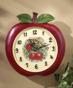 Vintage Look Red Apple Shaped Decorative Kitchen Wall Clock Country Decor Apple Kitchen Decor, Kitchen Wall Clocks, Kitchen Decor Themes, Farmhouse Kitchen Decor, Home Decor, Kitchen Ideas, Kitchen Tips, Farmhouse Style, Country Kitchens