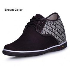 Brown Suede Leather casual style height increasing elevator Shoes 2.75inchs/7cm taller