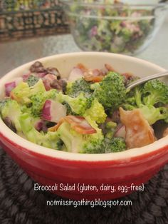 Not Missing a Thing! Allergy Friendly Cooking: Broccoli Salad {gluten, dairy and egg-free}