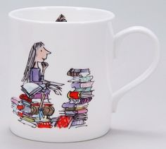 "(rd06) Roald Dahl Matilda  Mug ""i'm wondering what to read next.. i've finished all the children's books."""