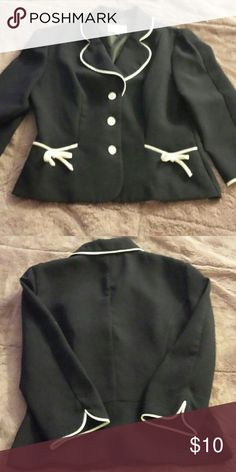 Cute Navy Jacket Navy jacket with white trim. About 3/4 sleeves. Got used but has never been worn since I've had it, great condition. Studio I Jackets & Coats Blazers