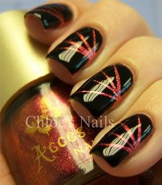 I cut 4 very thin strips of tape for each nail. When they were all done, I added 2 coats of SV on top
