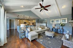 The Mulberry model at Bayfront at Rehoboth. Cool colors in an open floor plan.