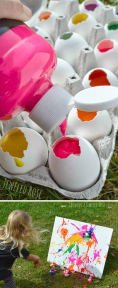 Paint Filled Eggs on Canvas. Fill eggs with paint and toss them at canvas! This game is surprisingly easy to set up and so fun for your Easter party. http://hative.com/creative-easter-party-ideas/