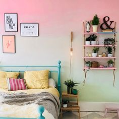 Painting an ombre wall is simpler than you think; just our step-by-step guide to find out how Girls Room Paint, Girl Bedroom Walls, Accent Wall Bedroom, Girl Room, Bedroom Decor, Wall Decor, White Bedroom, Ombre Painted Walls, Ombre Walls