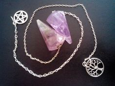 Amethyst Pendulum with Tree or Pentacle Charm by JLynchS4E1, $10.00