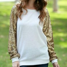 All That Glitters Sequin Sleeve Top The best and trendiest sweatshirt you will ever find! Dress it up, or dress it down.  Available in small medium and large   Please do not buy this listing, ask me for your size and I will make you a listing! :) Twang Boutique  Tops Blouses