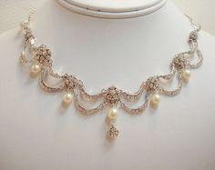 Ensemble de bijoux de mariée, ensemble collier et boucles d'oreilles, style vintage, bijoux de mariage, victorian inspiré