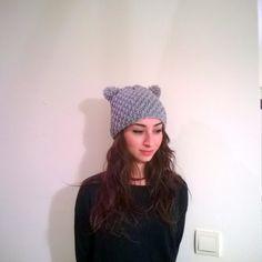Gray Bear Pom Pom Beanie  Grey Handmade Knit by HandicraftByDamla