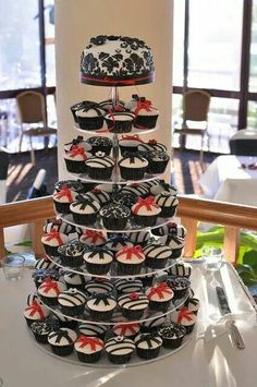 Tiered Cupcakes Red White Black Wedding