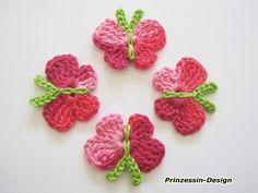 Schmetterlinge von Häkelblumen auf DaWanda.com