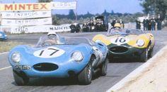 Le Mans 1957. #17 Equipe Los Amigos, Jaguar D-type Jean Lucas/Jean-Marie Brousselet,  #16 Equipe Nationale Belge, Jaguar D-type Paul Frère/Freddy Rousselle