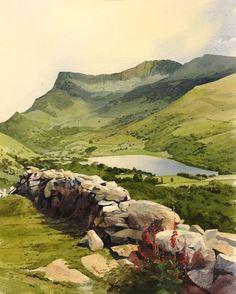 Dyffryn Nantlle, an original watercolour painting by Rob Piercy: