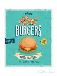 "Pro-Art Wandbild Glas-Art ""Best Burgers"", 30 x 30 cm Vintage Poster, Retro Vintage, Vintage Logos, Retro Posters, Retro Logos, Free Vector Images, Vector Free, Pro Art, Burger Vector"