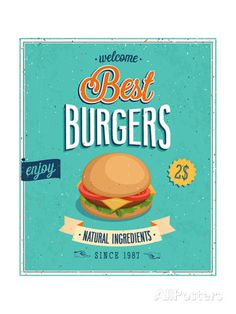 Vintage Burgers Poster Poster by avean at AllPosters.com