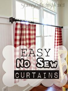 Red plaid curtains plaid kitchen curtains red kitchen curtains wonderful re Plaid Curtains, No Sew Curtains, Rod Pocket Curtains, Half Curtains, Country Curtains, Bedroom Curtains, Diy Bedroom, Cocina Shabby Chic, Shabby Chic Kitchen
