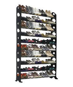Another great find on #zulily! Black & Silver 50-Pair Shoe Rack #zulilyfinds