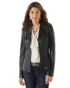 White House | Black Market Leather Military Jacket #whbm <-- Here is a great longer option for a leather blazer/jacket.  If only it came in other colors.