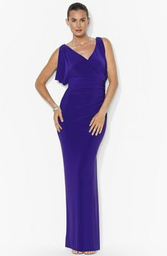 Lauren Ralph Lauren Draped Matte Jersey Gown at #Nordstrom This would make a beautiful simple wedding gown (in another color perhaps)