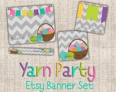 Yarn Etsy Banner Set  Etsy Shop Banner  Crochet Yarn by ShopKandy