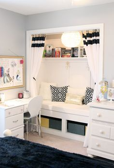 Built-in reading nook transformed from a closet in a beautiful teen girls room