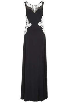 **Embroidered Backless Maxi Dress with Side Split by Rare (Topshop)