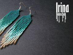 Perlen Ohrringe Perlen Saatgut moderne Ohrringe von IrinaHaluschak