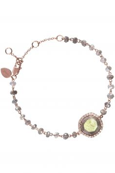 rose gold bracelet with with labradorite stones and diamonds I designed by meira t I NEWONE-SHOP.COM
