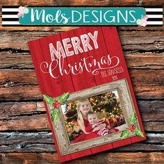 RUSTIC Wood CHRISTMAS Snowflakes It's A Wonderful Life Card Merry Little Holiday Happy New Year Wish Vintage Red Photo Red wood Invitation