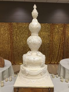 Tall sphere wedding cake by Sweet Southern Ladies