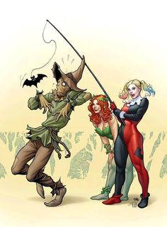 Poison Ivy & Harley Quinn vs Scarecrow (Harley Quinn variant cover) Art by Frank Cho Frank Cho, Character Drawing, Comic Character, Scarecrow Dc, Scarecrow Character, Gotham Villains, Arte Nerd, Arte Dc Comics, Gotham Girls