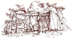 Ink sketch undertaken by Alan Whittle, at The Lorien Trust LRP Event of the weekend of 3/4 August 2013