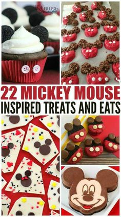 22 Mickey Mouse Inspired Treats And Eats! We love Mickey Mouse here but couldn& go to the park! So I decided to compile a list of tasty treats for the Disney lover! via Awe Filled Homemaker Disney Desserts, Snacks Disney, Disney Themed Food, Disney Inspired Food, Disney Diy, Walt Disney, Disney Food Recipes, Disney Cars, Mickey Party