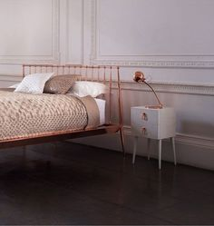 Rose gold is a new popular accent in design. Look at this beautiful bed!  More at: http://thiswayhome.co/trendcasting/trendcasting-rose-gold-decor/