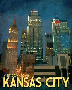 Kansas City Travel Print 12x15 Downtown by JustABitOutside