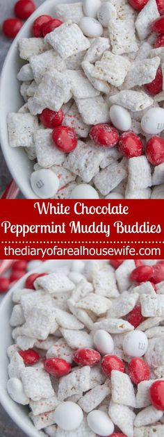White Chocolate Peppermint Muddy Buddies. Making this for Christmas movie night!