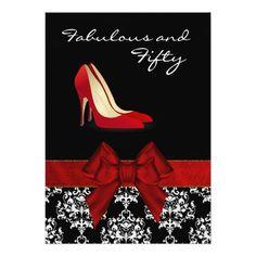 "Stylish Lady's Damask Stiletto Custom Invitation 5"" X 7"" Invitation Card $2.11 per card"