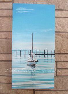 Large ORIGINAL Painting 30x15 Marina Water View by NataliaDENGER