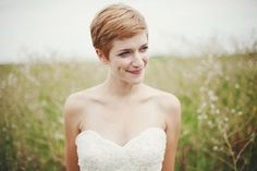 7 Gorgeous Wedding Hairstyles for Short Hair - a simple side swept strawberry blonde pixie cut—gorgeous.