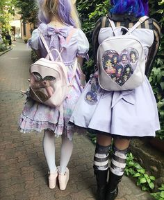 Hope you don't mind me uploading this, too~ @hellobatty and I had kind-of-matching itabags  Our outfits matched too! #ootd #itabag #WeGO #Jfashion #harajukufashion #Lolita #pastel #lilac #Kawaii #magicalgirls #sailormoon #lolitafashion #ap #angelicpretty