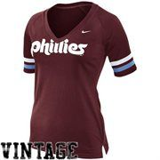 Nike Philadelphia Phillies Ladies Cooperstown Collection Fan V-Neck Slim Fit T-Shirt