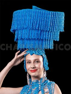 Blue Sequin Circular Headdress with Matching Blue Beaded Tassels Drag Queen Costumes, Drag Queen Outfits, Girl Costumes, Showgirl Costume, Headdress, Headpiece, Showgirls, Blue Beads, Dance Wear